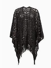 Black Crochet Fringe Ruana, , hi-res