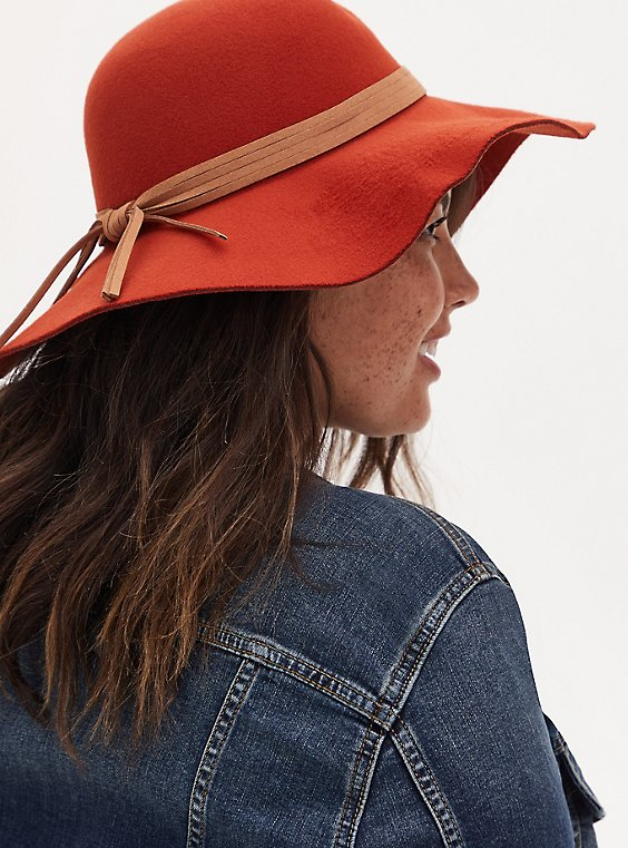 Brick Red Round Floppy Hat, RED, hi-res