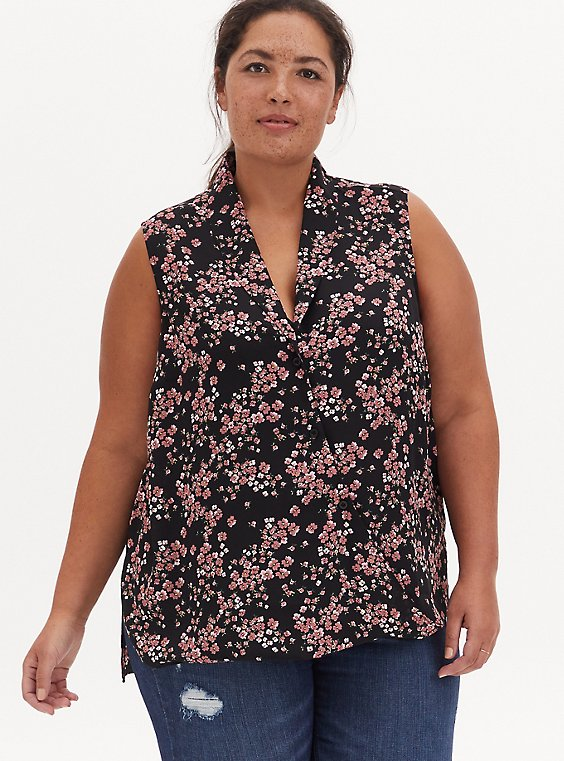 Black Ditsy Floral Georgette Shawl Collar Sleeveless Blouse, FLORAL - BLACK, hi-res