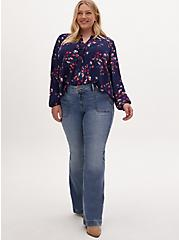 Navy Floral Georgette Pintuck Button Down Blouse, FLORALS-BLUE, alternate