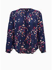 Navy Floral Georgette Pintuck Button Down Blouse, FLORALS-BLUE, hi-res