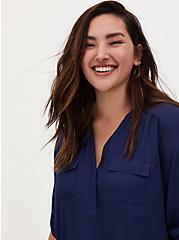 Harper - Navy Georgette Pullover Blouse , MEDIEVAL BLUE, alternate