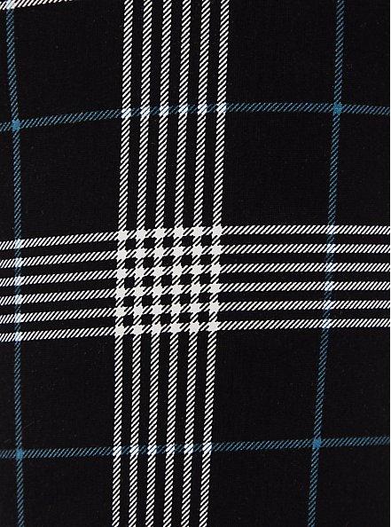 Plus Size Black & Teal Plaid Ponte Multi Zip Skinny Ankle Pant, PLAID, alternate
