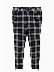Black & Teal Plaid Ponte Multi Zip Skinny Ankle Pant, PLAID, hi-res