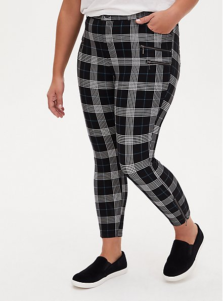 Plus Size Black & Teal Plaid Ponte Multi Zip Skinny Ankle Pant, PLAID, hi-res