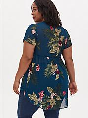 Teal Tropical Floral Chiffon Hi-Lo Babydoll Tunic, FLORAL - TEAL, alternate