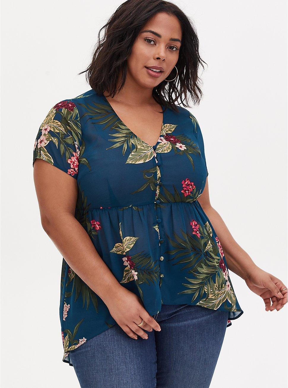 Plus Size Teal Tropical Floral Chiffon Hi-Lo Babydoll Tunic, FLORAL - TEAL, hi-res