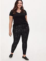 Black Floral Skull Ponte Multi Zip Skinny Ankle Pant, BLACK SKULL, alternate
