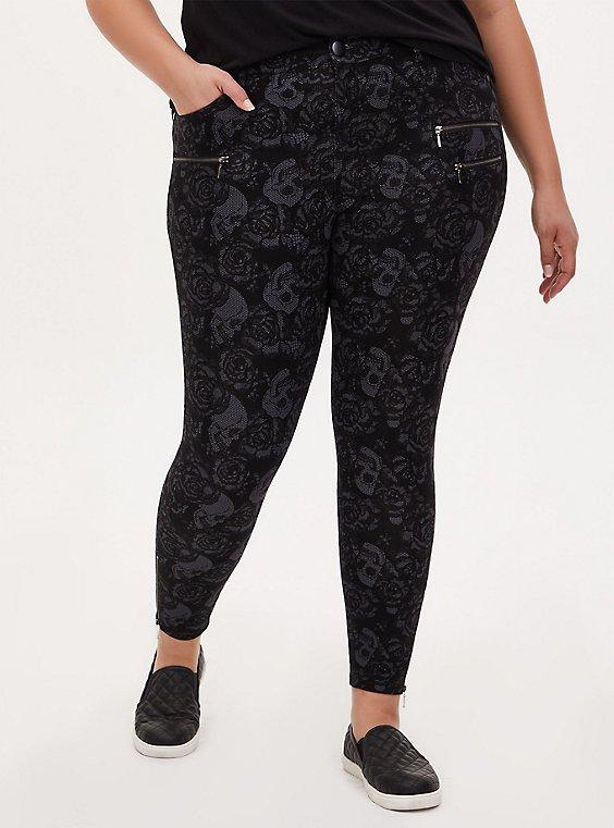 Black Floral Skull Ponte Multi Zip Skinny Ankle Pant, , hi-res