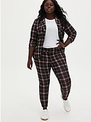 Black & Red Plaid Double Knit Ankle Skinny Pant, GINGHAM PLAID, alternate