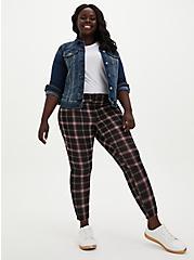 Studio Signature Stretch Black & Red Plaid Premium Ponte Ankle Skinny Pant, GINGHAM PLAID, alternate