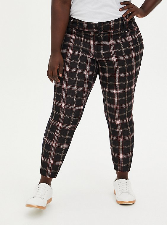 Black & Red Plaid Double Knit Ankle Skinny Pant, GINGHAM PLAID, hi-res