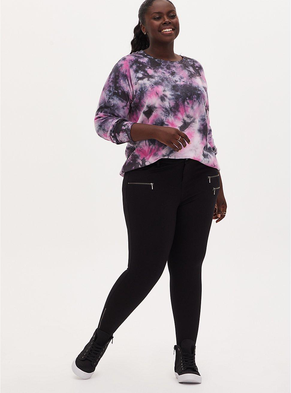 Black Ponte Multi Zip Skinny Ankle Pant, DEEP BLACK, hi-res