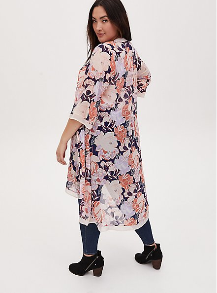 Light Pink Floral Chiffon Hi-Lo Duster Kimono, FLORAL - BLUE, alternate