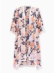 Light Pink Floral Chiffon Hi-Lo Duster Kimono, FLORAL - BLUE, hi-res