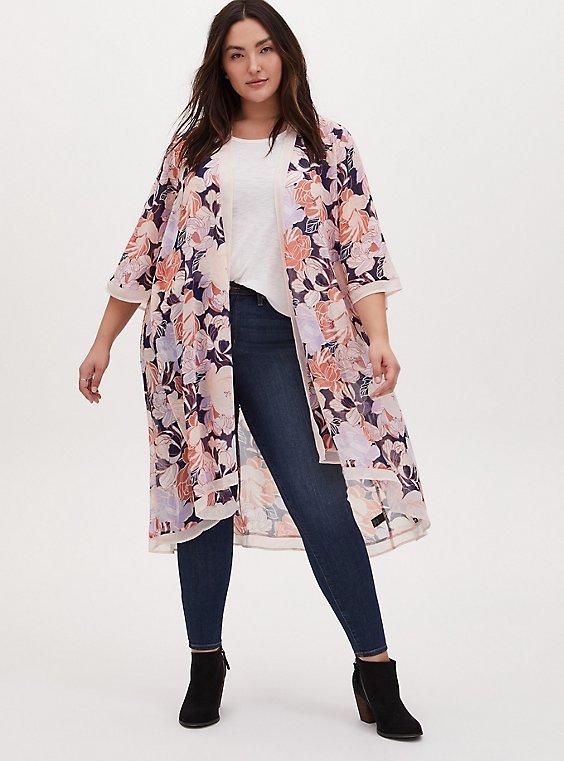 Light Pink Floral Chiffon Hi-Lo Duster Kimono, , hi-res