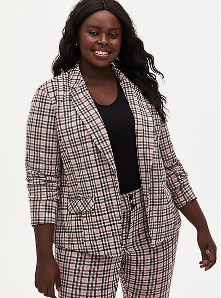 Light Taupe Plaid Double Knit Blazer, PLAID - BLACK, alternate