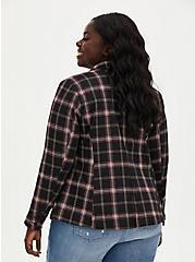 Black Plaid Double Knit Blazer, PLAID - BLACK, alternate