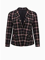 Black Plaid Double Knit Blazer, PLAID - BLACK, hi-res