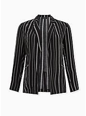 Black & White Geo Stripe Textured Woven Boyfriend Blazer, DEEP BLACK, hi-res