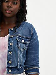 Crop Collarless Denim Jacket - Medium Wash, MEDIUM WASH, alternate