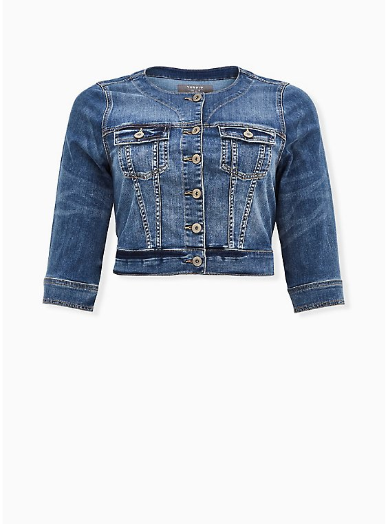 Crop Collarless Denim Jacket - Medium Wash, MEDIUM WASH, ls