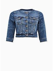Crop Collarless Denim Jacket - Medium Wash, MEDIUM WASH, hi-res