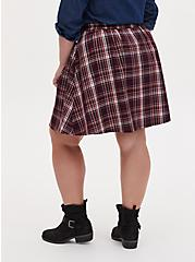 Burgundy Purple Plaid Twill Pleated Button Front Mini Skirt , PLAID - PURPLE, alternate