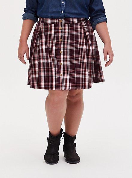 Plus Size Burgundy Purple Plaid Twill Pleated Button Front Mini Skirt , PLAID - PURPLE, hi-res