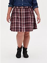 Burgundy Purple Plaid Twill Pleated Button Front Mini Skirt , PLAID - PURPLE, hi-res