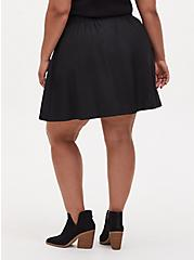 Black Twill Pleated Button Front Mini Skirt , DEEP BLACK, alternate