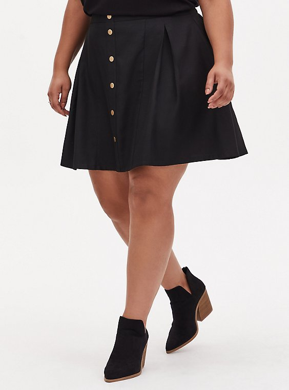 Black Twill Pleated Button Front Mini Skirt , , hi-res