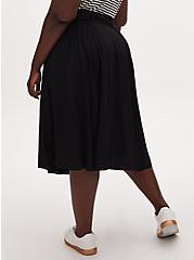 Black Challis Self Tie Midi Skirt, DEEP BLACK, alternate