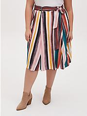 Multi Stripe Self Tie Midi Skirt , PAINTED STRIPE, hi-res
