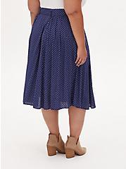Navy Ditsy Heart Challis Self Tie Midi Skirt, HEARTS-NAVY, alternate
