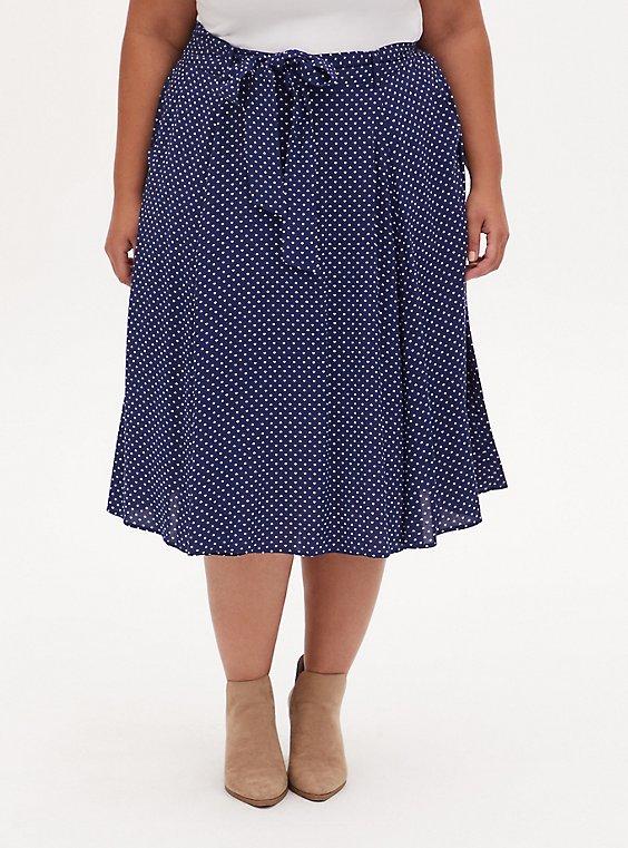 Navy Ditsy Heart Challis Self Tie Midi Skirt, HEARTS-NAVY, hi-res