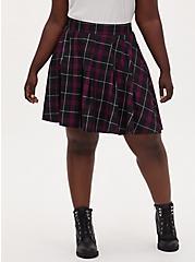 Plum Purple Plaid Twill Pleated Mini Skater Skirt , PLAID - PURPLE, alternate