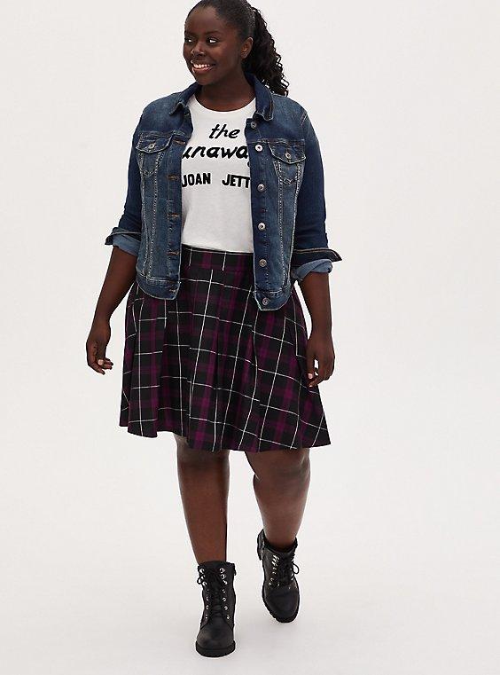 Plum Purple Plaid Twill Pleated Mini Skater Skirt , , hi-res
