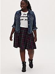 Plum Purple Plaid Twill Pleated Mini Skater Skirt , PLAID - PURPLE, hi-res