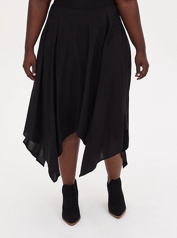 Black Challis Handkerchief Midi Skirt, , hi-res