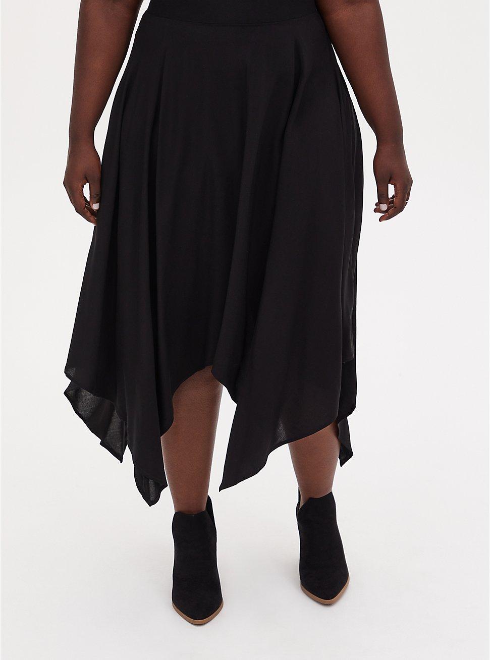 Black Challis Handkerchief Midi Skirt, DEEP BLACK, hi-res