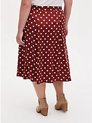 Brick Red Polka Dot Satin A-Line Midi Slip Skirt, DOTS - BROWN, alternate