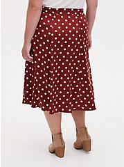 Brick Red Polka Dot Satin A-Line Midi Slip Skirt, DOTS - BROWN, alternate