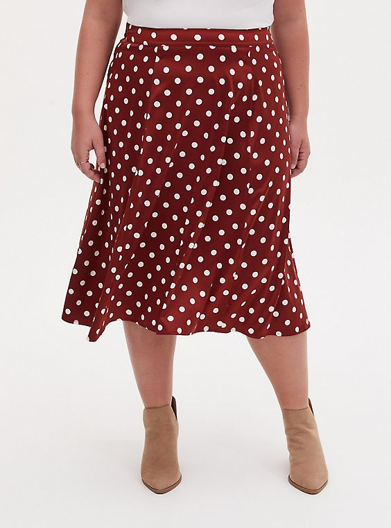 Brick Red Polka Dot Satin A-Line Midi Slip Skirt, , hi-res