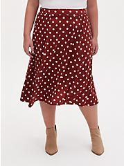 Brick Red Polka Dot Satin A-Line Midi Slip Skirt, DOTS - BROWN, hi-res