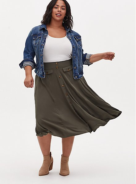 Olive Green Challis High Waist Button Midi Skirt, DEEP DEPTHS, alternate