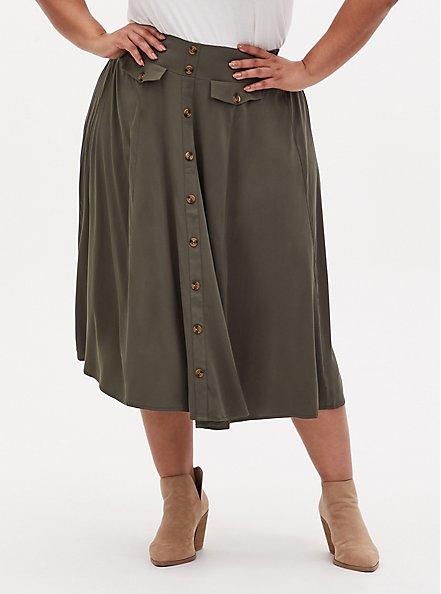 Olive Green Challis High Waist Button Midi Skirt, DEEP DEPTHS, hi-res