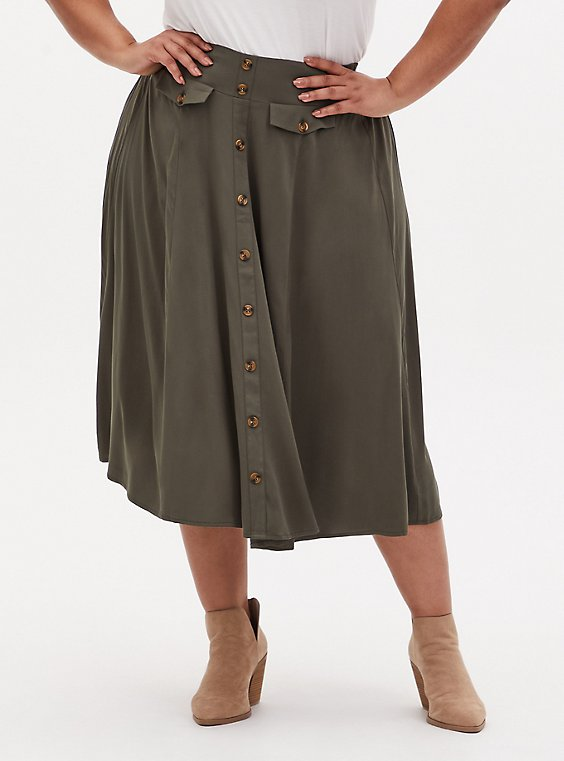 Olive Green Challis High Waist Button Midi Skirt, , hi-res