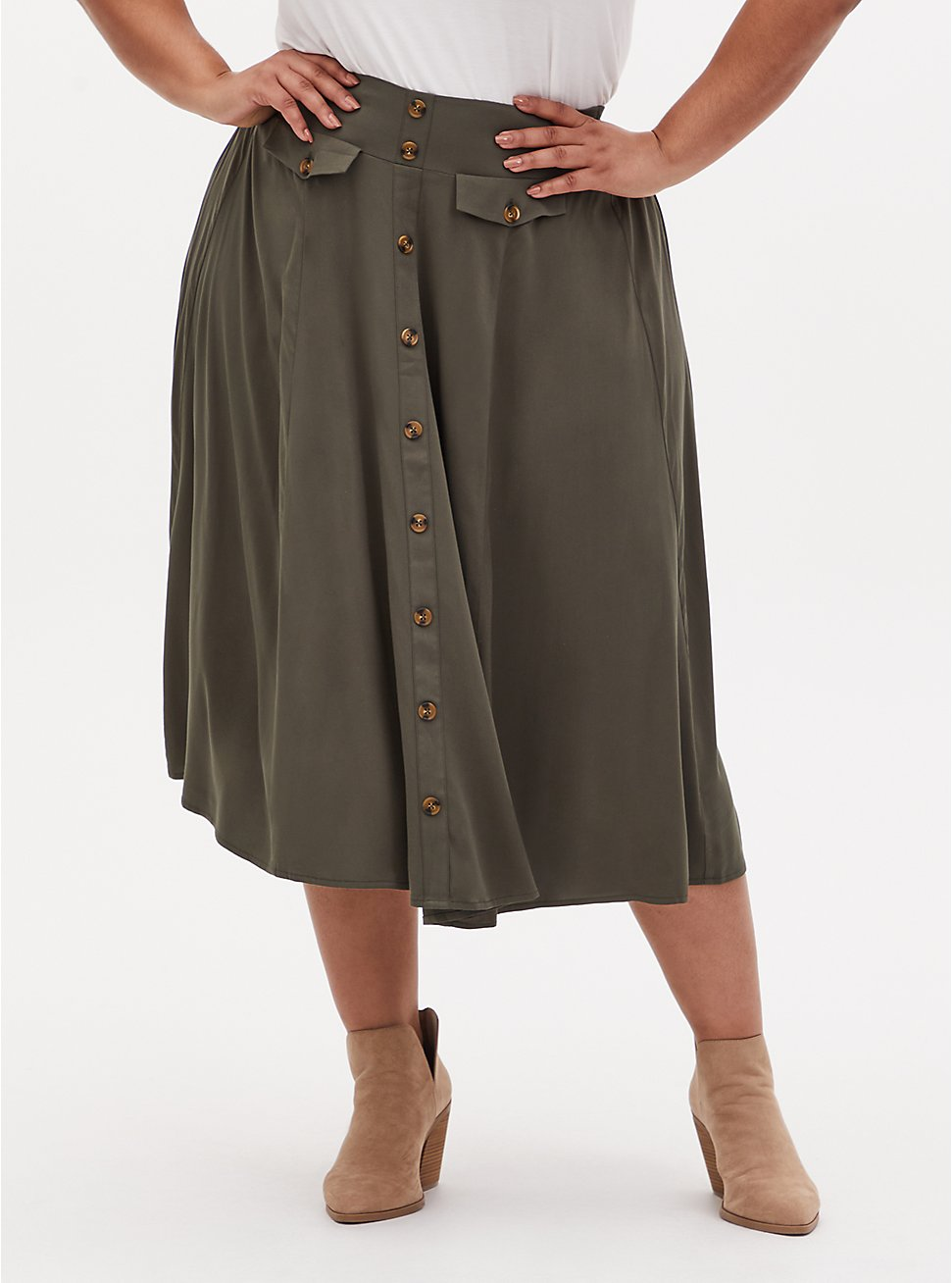Olive Green Challis High Waist Button Midi Skirt, DEEP DEPTHS, hi-res
