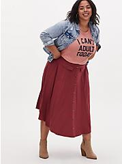 Dark Red High Waist Button Midi Skirt , CURRENT EVENTS, alternate